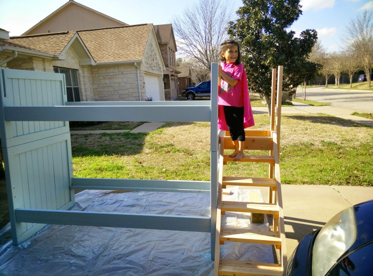 Bunk bed painted, stairs almost done.